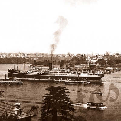 SS BENDIGO in Sydney Harbour, New South Wales, steam ship