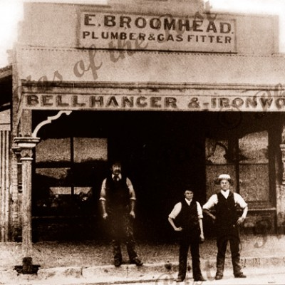 E. Broomhead, bell hanger, plumber & gas fitter, Jetty Rd.,Glenelg, South Australia 1890