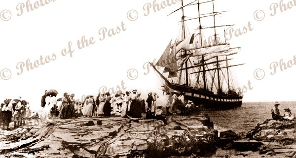 4m barque HINEMOA stranded at Lorne, Vic. (later refloated) 21 Jan 1908, sailing ship