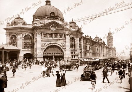 Flinders Street Railway Station c1900s Melbourne Victoria Car Tram