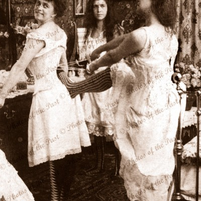 Tightening the stays - to the limit! women underwear corset bedroom 1907