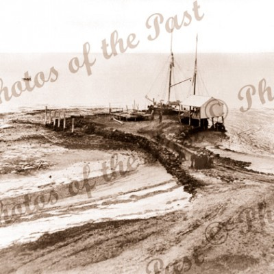 Pine Point SA Ketch ANNIE WATT at wharf, South Australia, shipping 1904