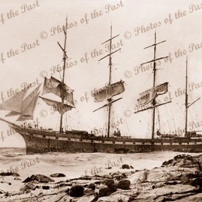 4M Barque HINEMOA stranded at Lorne Vic. Victoria. Great Ocean Road. Ship. January 1908