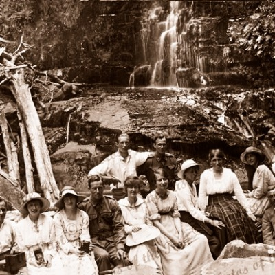 A Picnic at Erskine Falls, Lorne, Vic. 1919. Victoria. Great Ocean Road. Waterfall