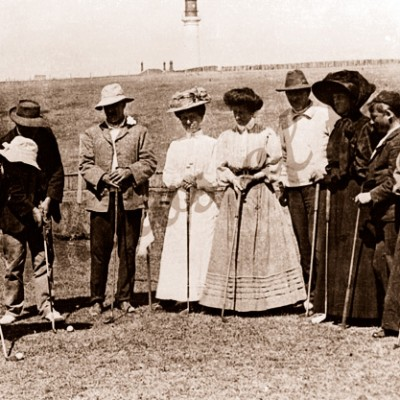 A game of golf on the river flats. Noble & McMullan families. Aireys Inlet, Vic. 1909. Victoria. Great Ocean Road. Splitpoint Lighthouse