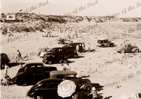 Surf Beach & Clubhouse, Torquay, Vic. c1940s. Victoria. Great Ocean Road. Cars