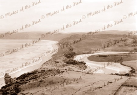 Panorama from Splitpoint Lighthouse, Aireys Inlet, Vic. c1910s. Victoria. Great Ocean Road