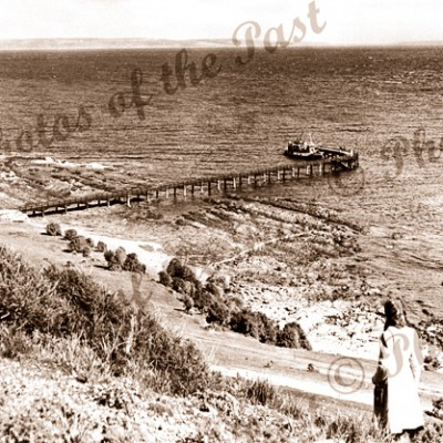Kangaroo Island Ferry CHEOPIS at Cape Jervis SA. South Australia. c1940s. Jetty
