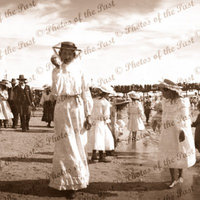A stroll at the seaside - Glenelg, SA. c1910 South Australia. Ladies
