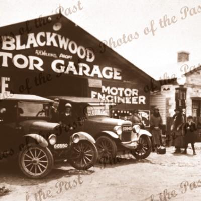 Blackwood Motor Garage, SA, c1920s. South Australia. Cars
