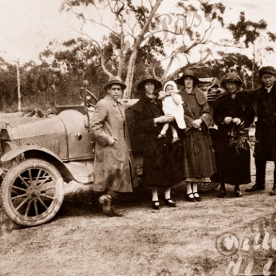 A rest at the top. Willunga Hill, SA (old car). c1920. South Australia