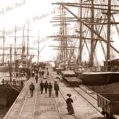 3m ship GLENESSLIN at Wallaroo jetty with SS READY, c1911. South Australia