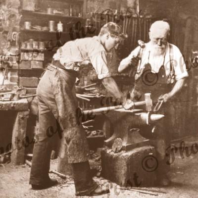 Blacksmiths at work, Clarendon, SA. 1896. South Australia