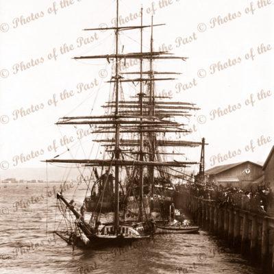 Barque LAIRA sunk at Dunedin wharf 1898. Built 1870. Shipping. New Zealand