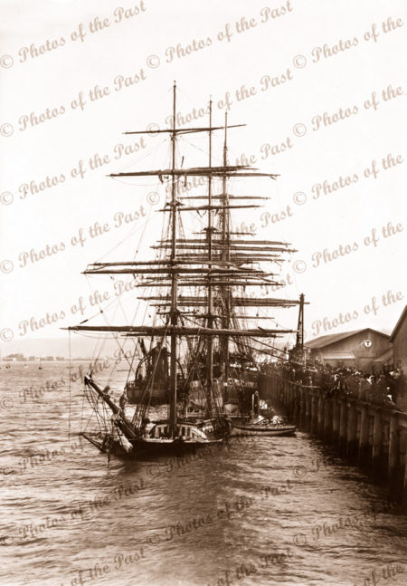 Barque LAIRA sunk at Dunedin wharf 1898. Built 1870. Shipping. New Zealand