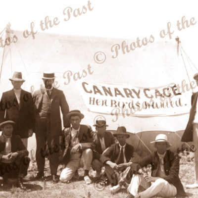 """""""Canary Cage. Hen Birds Wanted"""" A ruse to get girls? Port Elliot SA. 1920. South Australia."""