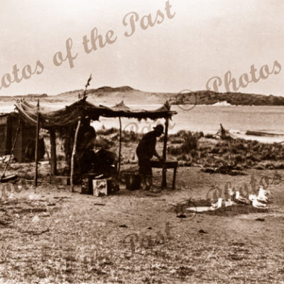 Fishermen's camp at Horseshoe Bay, Port Elliot. SA. c1900s. South Australia