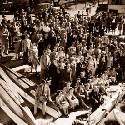 Crowd at Pearson's Hire boatshed, Victor Harbor SA. South Australia.. 1950s