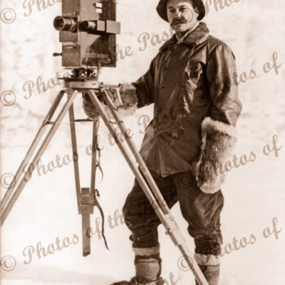 Herbert Ponting, photographer for British Antarctic Expedition, BAE. tripod. Exploration, c1910.