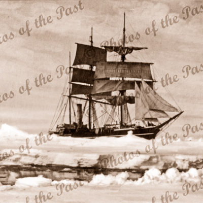 Aux barque TERRA NOVA trapped in sea ice, Antarctica. 1910. Snow & ice
