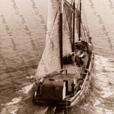 3m schooner RELIANCE under sail & motor, towing. 1950s. Shipping