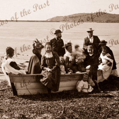 Picnic party and their boat, Victor Harbor, SA. South Australia. c1900