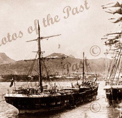 3M Ship LOCH VENNACHAR arriving Port Louis, Mauritius, under jury rig. built 1875