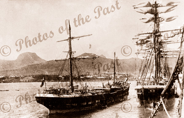 3M Ship LOCH VENNACHAR arriving Port Louis, Mauritius, under jury rig. built 1875
