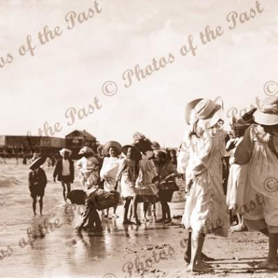 Down by the Seaside - Glenelg, SA South Australia Beach c1890s