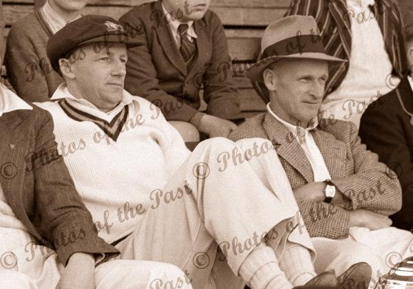 Don Bradman & Clarrie Grimmett - watching the cricket c1930s