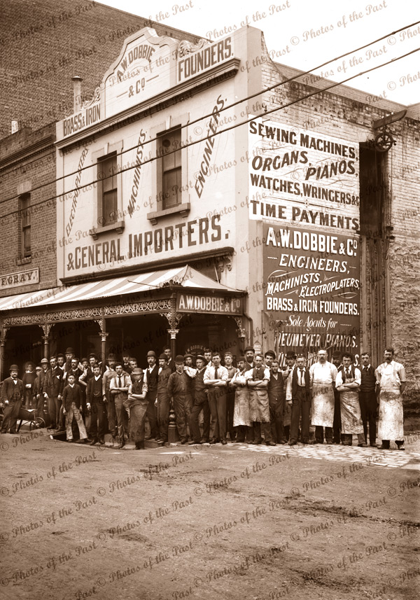 A.W.Dobbie & Co's premises, cnr Gawler & Featherstone Places, Adelaide, South Australia, 1872, Machinists, Electroplaters, Engineers, Founders