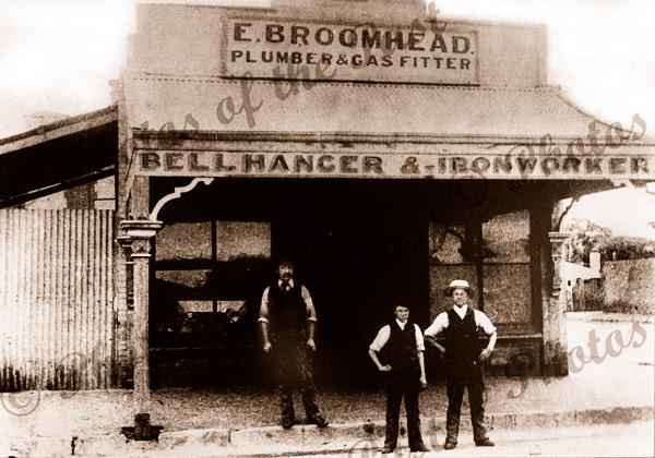 E. Broomhead, bell hanger, plumber & gas fitter, Jetty Rd.,Glenelg, South Australia 1890