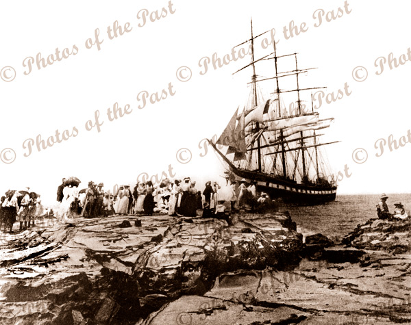 4m barque HINEMOA stranded at Lorne, Vic. (later refloated) 21 Jan 1908, sailing ship. Photograph by Charles Richard Hurschell.