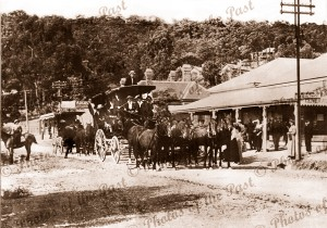 Departure of Mountjoy's coach from General Store at Lorne. Victoria. 1917 horses great ocean road