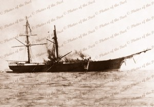 Clipper LIGHTNING on fire after loading a cargo of wool at Geelong, Victoria, Sailing Ship 1869