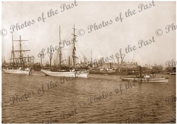 Brigantines RACHEL COHEN & WOLLOMAI,tug SURPRISE,Port Adelaide 1896