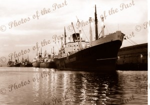 Evening reflections, shipping, Pt Adelaide c1950s