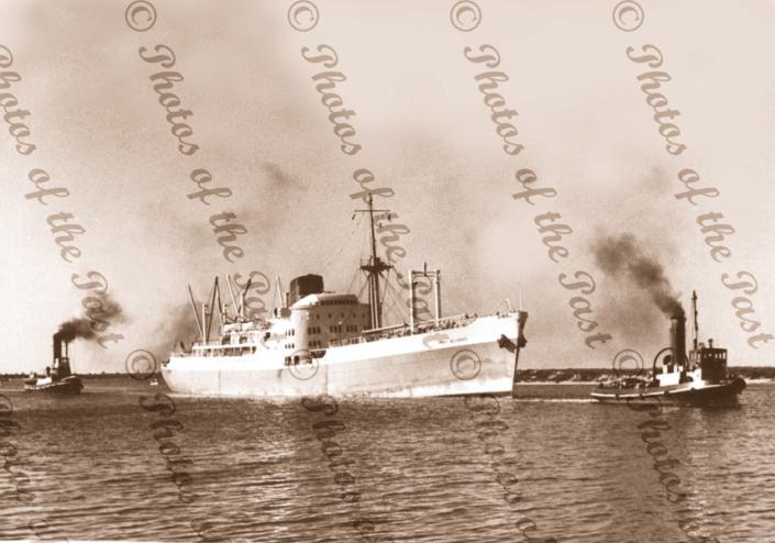 MV PORT BRISBANE 1st visit Port Adelaide. Tugs WATO (L) & YELTA South Australia c1950s steam ship