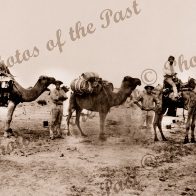 Three camels and their riders at Lake Callabonna SA South Australia