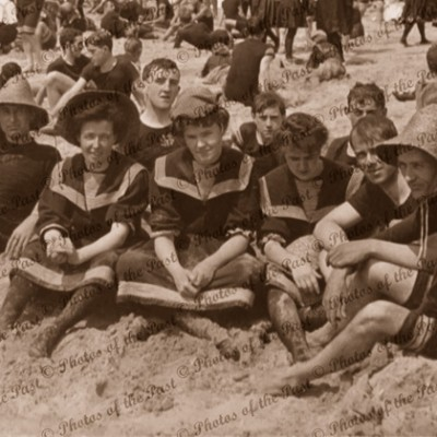 Down by the seaside, beach, bathing c1906