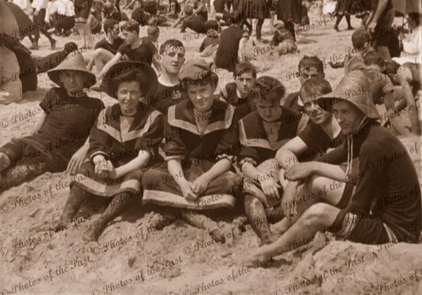 Down by the seaside, beach, bathing c1906