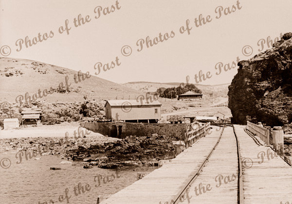 View to shore from Second Valley jetty, SA, South Australia c 1935