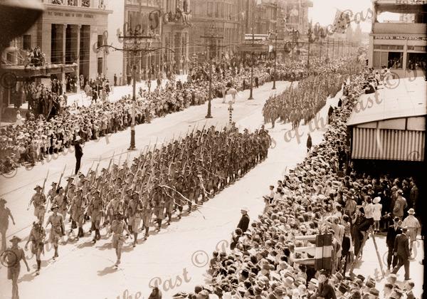 Military Parade, King William St. Adelaide, SA, South Australia c 1945