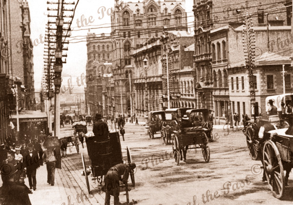 Queen St, Melbourne, Vic. Victoria, carriages 1903