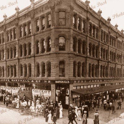 James Marshall & Co (later Myers) Emporium, Rundle St, Adelaide, SA, South Australia. People 1912