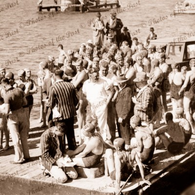 Start of ladies race, Port River, SA. Musgrave wharf. South Australia. c1940. Swimming