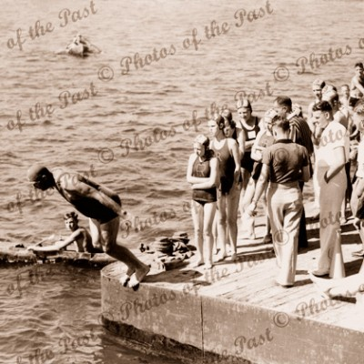 Port River swimming race, SA. South Australia 1940s