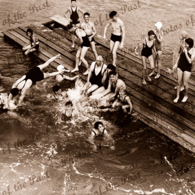 Swimming fun in the Port River, SA. South Australia. c1940s