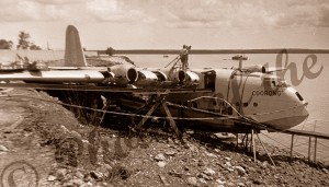 """Flying boat """"Coorong"""" wrecked during storm at Darwin. December 1938 Northern Territory"""