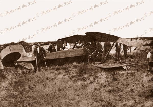 Harry Butler's wrecked Le Rhone bi-plane at Minlaton SA South Australia Jan 1920